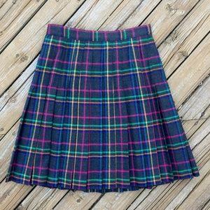 VINTAGE 80s Unique Wool Pleated Plaid Skirt